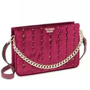 Victoria's Secret Velvet Stud Crossbody Mini Bag